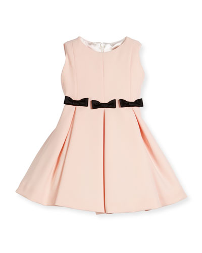 Fit-and-Flare Dress w/ Bows, Size 7-14