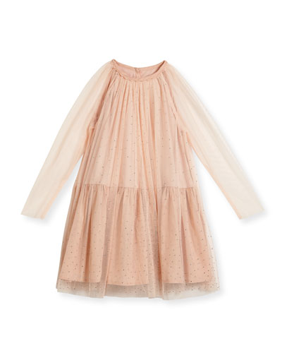Misty Sparkle Embellished Tulle Dress, Size 4-14