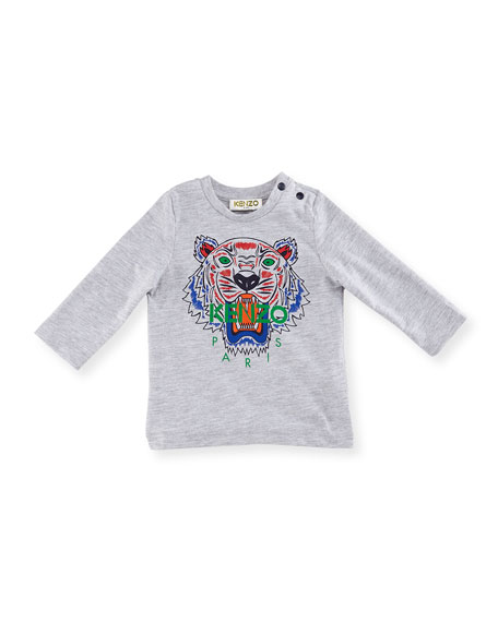 Kenzo Long-Sleeve Logo Tiger Tee, Size 12-18 Months