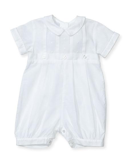 Brayden Short-Sleeve Convertible Christening Gown/Coverall w/ Matching Bonnet