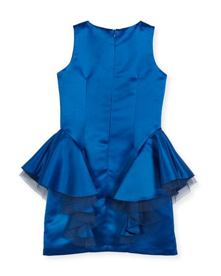 Sleeveless Embellished Dress w/ Tulle Peplum Detail, Size 8-16