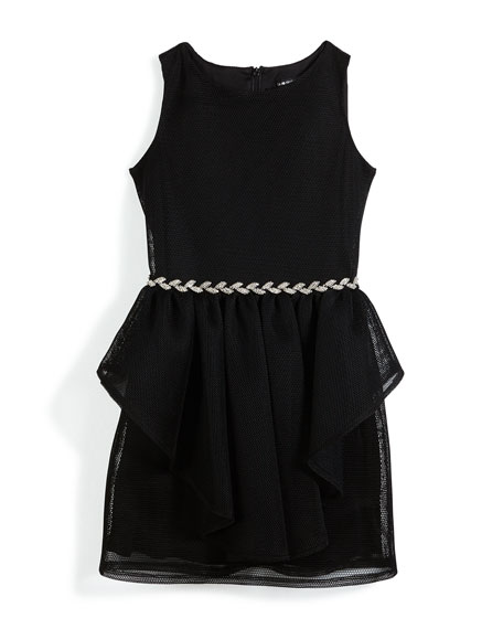David Charles Sleeveless Mesh Peplum Dress w/ Rhinestone