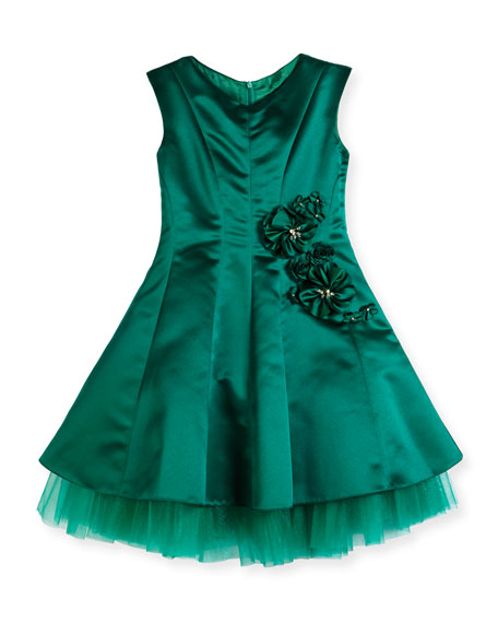 David Charles Satin Princess-Cut Dress w/ Exposed Tulle,