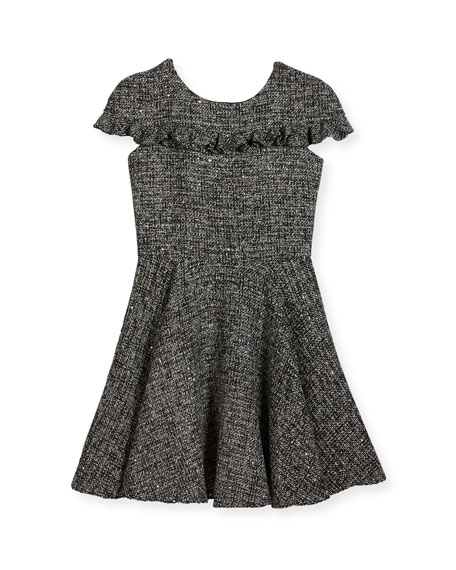 David Charles Tweed Cap-Sleeve Dress w/ Ruffle Trim,