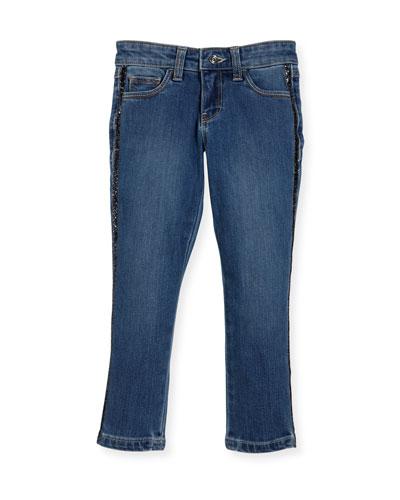 Denim Jeans w/ Metallic Trim Sides, Size 4-8