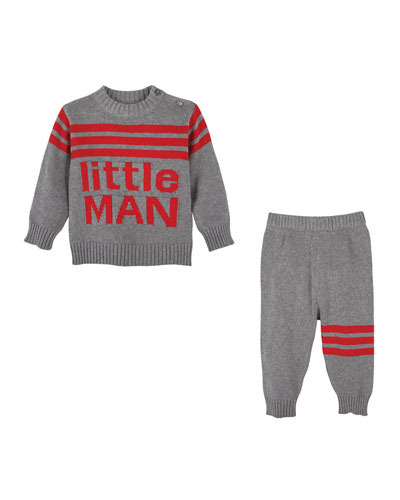Little Man Knit Sweater w/ Matching Pants, Size 3-24 Months