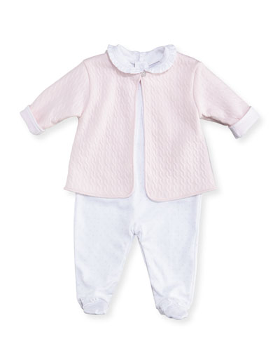 Cable Couture Footie Pajama & Jacket Set, Size Newborn-9M