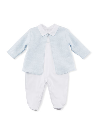Steam Engine Footie Pajamas & Jacket Set, Light Blue, Size Newborn-9M