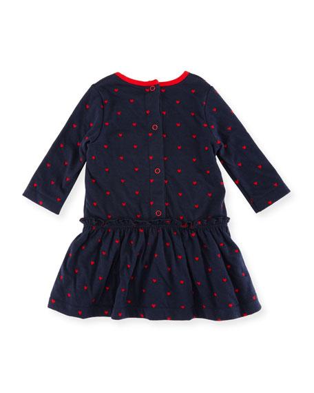 Long-Sleeve Dress w/ Heart Dot Print, Size 3-36 Months