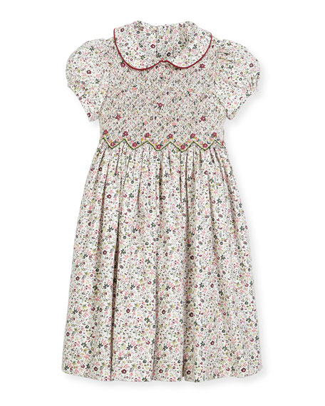 Luli & Me Cap-Sleeve Floral Smocked Dress, Size