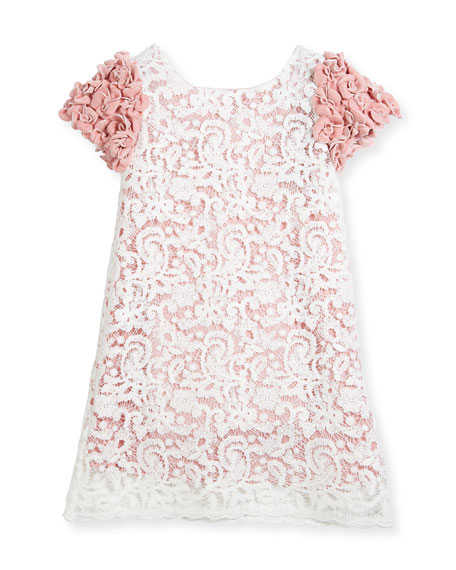 Charabia Celia Two-Tone Lace Dress w/ Rosette Sleeves,
