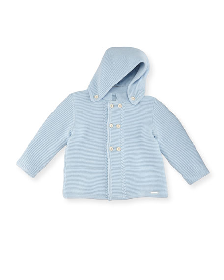 Pili Carrera Double-Breasted Hooded Knit Cardigan, Size 3M-2T