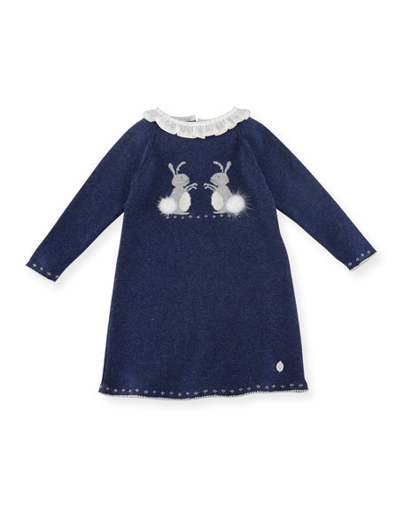 Pili Carrera Bunnies Intarsia Sweater Dress, Size 3M-2T
