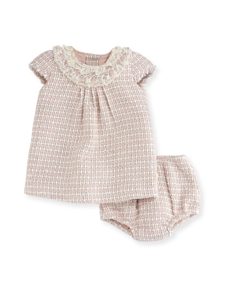 Tweed Short-Sleeve Dress w/ Bloomers, Size 6M-2T