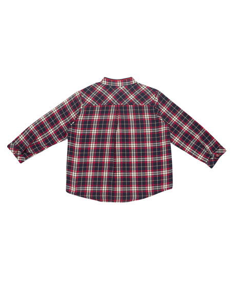 Plaid Mandarin-Collar Shirt, Size 12M-3T
