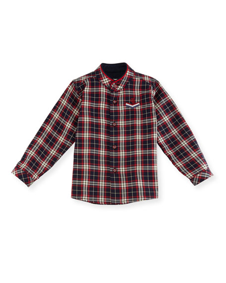 Pili Carrera Plaid Mandarin-Collar Shirt, Size 12M-3T