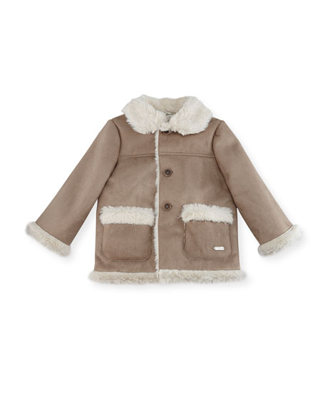 Faux-Shearling Ranch Coat, Size 12M-3T