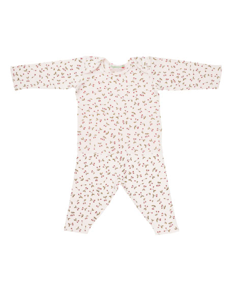 Cherry-Print T-Shirt w/ Leggings, Size 1 Month-2T