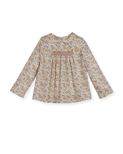 Floral-Print Smocked Blouse  Size 3-8
