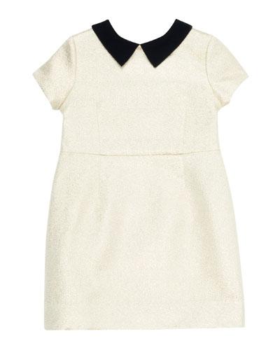 Glittered Dress w/ Contrast Velvet Collar  Size 4-8