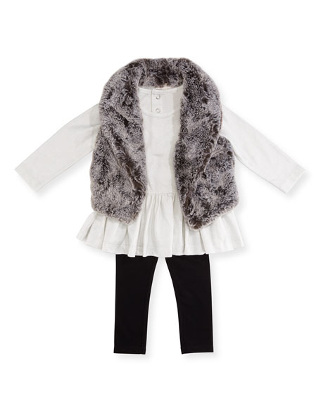 Miniclasix Faux-Fur Vest, Top & Leggings Layette Set,