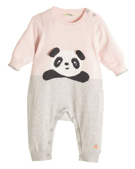 Panda Intarsia Knit Coverall, Light Pink, Size 0-18 Months