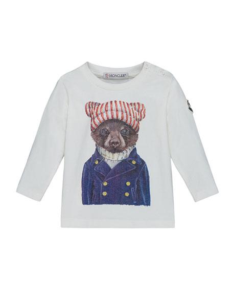 Moncler Maglia Long-Sleeve Bear T-Shirt, Size 12M-3T