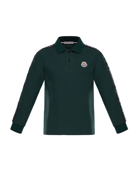 Moncler Maglia Long-Sleeve Logo Polo, Size 12M-3T