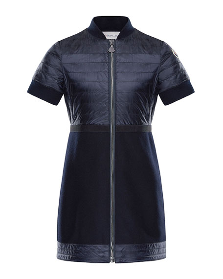 Moncler Short-Sleeve Abito Mixed Media Dress, Size 8-14