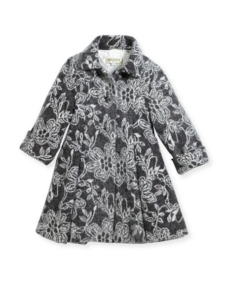 Floral Topper Coat, Size 7-14