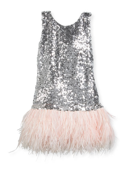 Cece Sequin Dress w/ Feather Hem, Size 4-6X
