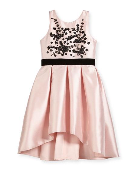 Zoe Beaded Bodice High-Low Bow-Pleat Dress, Size 7-16