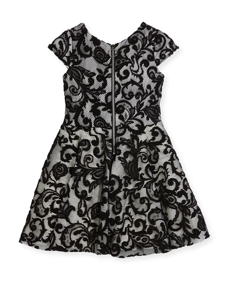 Lovely Lace Contrast Overlay Dress, Size 2-6X