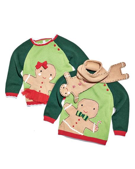 Girls' Knit Gingerman Sweater, Sizes 2T-10