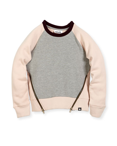 Molo Colorblock Hanney Zip Sweatshirt, Size 3-14