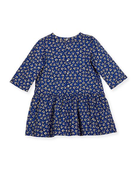Long-Sleeve Squirrel-Print Dress