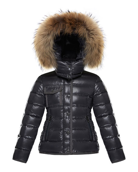 Armoise Mini Me Jacket w/ Fur-Trim Hood, Size 8-14