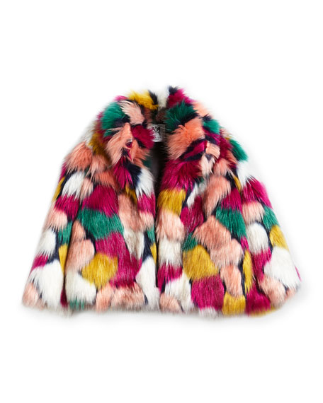 Milly Minis Faux-Fur Jacket, Multi, Size 8-14
