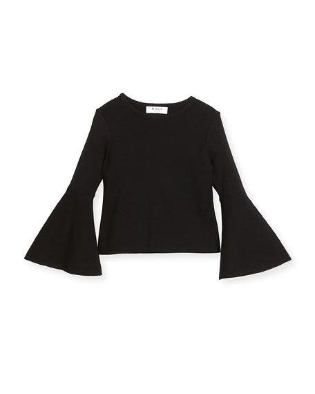 Milly Minis Knit Bell-Sleeve Pullover Blouse, Size 8-14