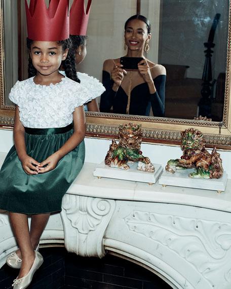 Flutter & Sequin Dress w/ Velvet Skirt, Size 2-6X