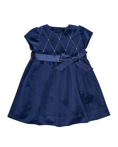 Twill Velvet Lattice Dress w/ Pearly Trim, Size 2-6X