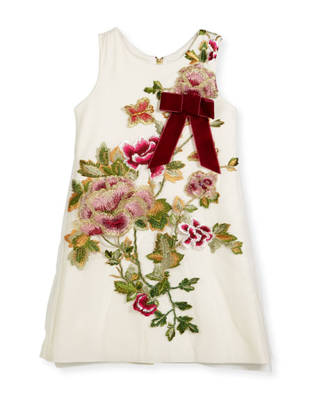 Zoe Winter Rose-Embroidered A-Line Dress, Size 4-6X and