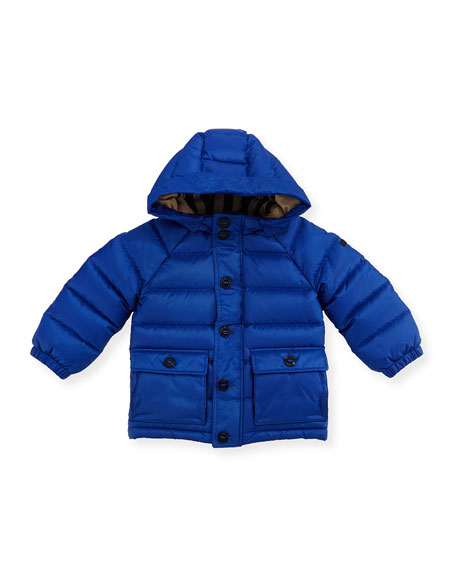 Burberry Lachlan Hooded Puffer Jacket, Blue, Size 6M-3Y