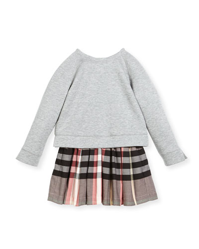 Francine Sweatshirt Check Dress, Size 4-14