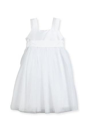 Isabel Garreton Venice Pleated Straps V-Back Dress, White, Size 7-10