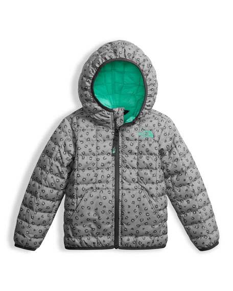 The North Face Leopard-Print ThermoBall Hooded Jacket, Gray,