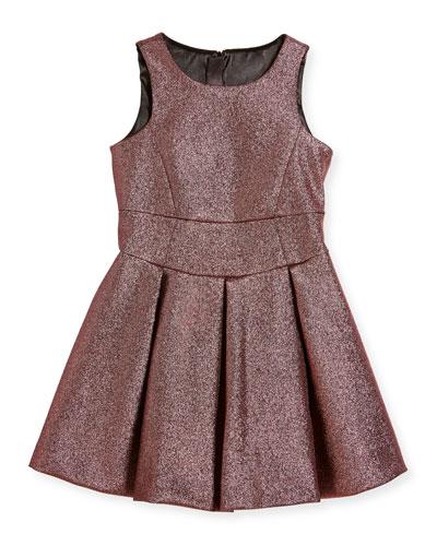 Scoop-Neck Metallic Dress, Size 4-7