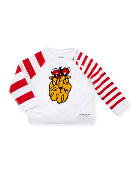 Lion Stripe-Sleeve Cotton Shirt, White, Size 6M-3Y