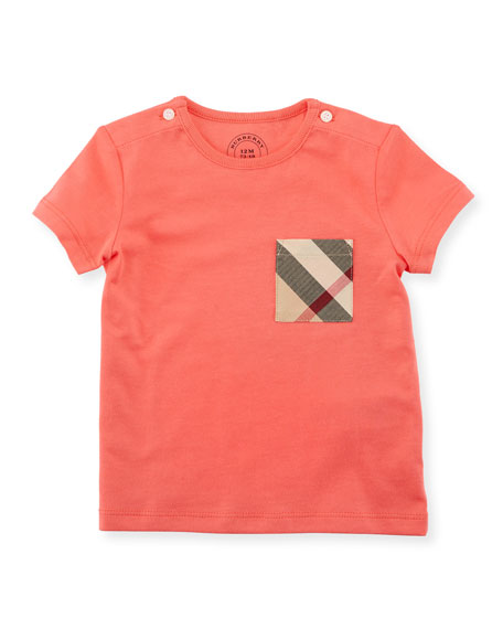 Burberry Short-Sleeve Check-Pocket Jersey Tee, Pink, Size 6M-3Y