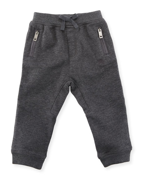 Burberry Phill Cotton Track Pants, Charcoal, Size 6M-3Y